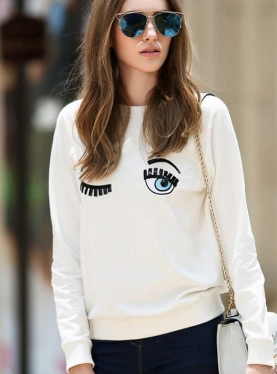 White Big Eyes Sweatshirt