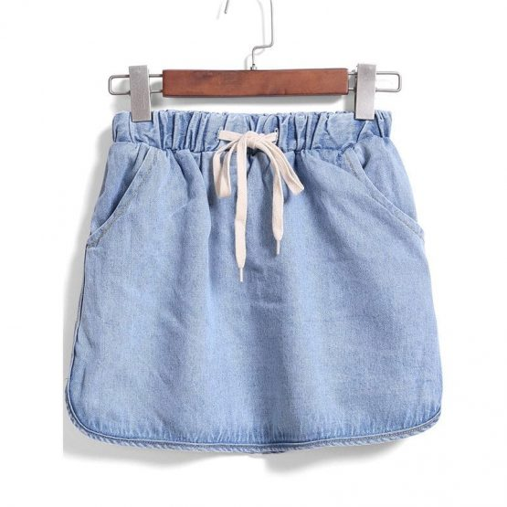 Drawstring Denim Skirt