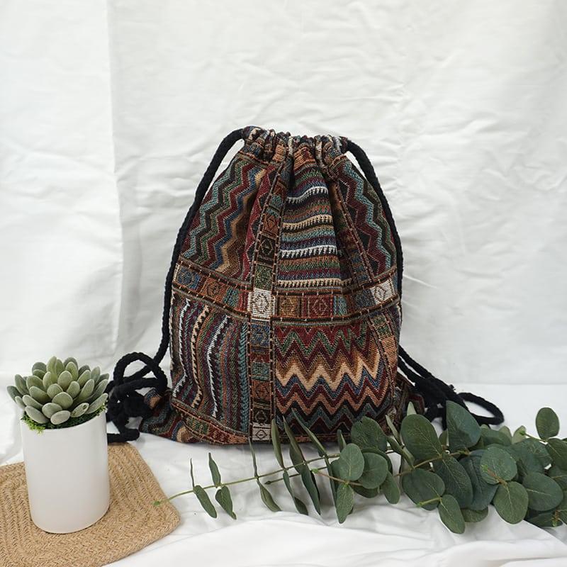 Drawstring Backpack – Boho Style NZ | R E K I N D L E