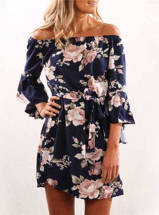 Off Shoulder Boho Style Dress