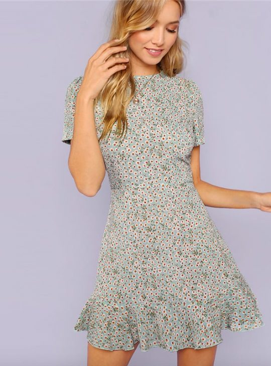 Flared Hem Daisy Dress