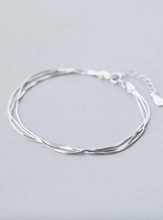 Sterling Silver Snake Bone Bracelet