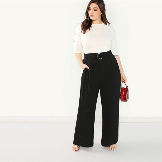 Wide Leg Belted Pants - Plus Size