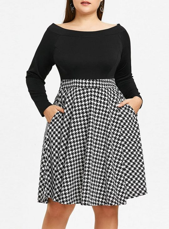 Wide Neck Swing Dress - Plus Size