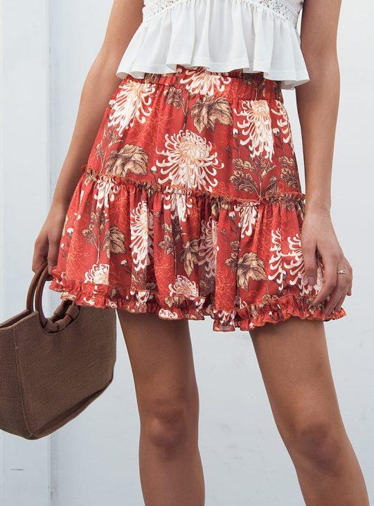 Boho Floral Mini Skirt